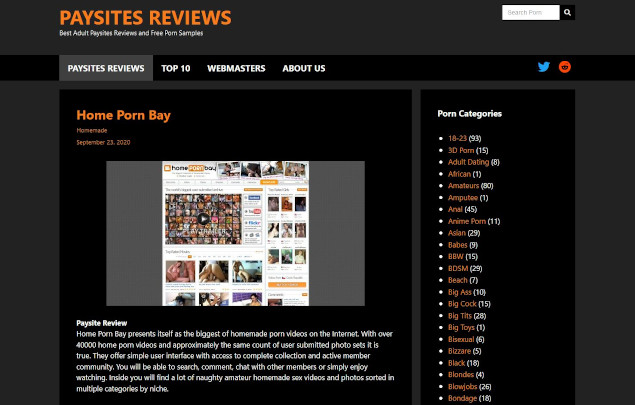 Paysites Reviews Home Screenshot