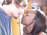 Natural Ebony Bangs White Guy