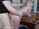Hot Little Blond Gets A Painful Anal Pounding With ATM On The Dining Table