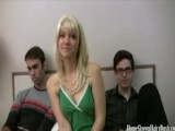 Young Hairy Blonde Teen Takes On Two Cocks