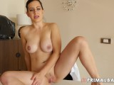 PrimalBang Big Tits Brunette Makes Pussy Creamy With Glass Dildo