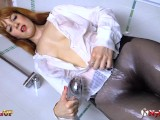 Redhead Masturbating In Pantyhose While Taking A Shower