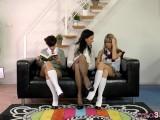 MILF Enjoys Threeway With Lesbian Teens